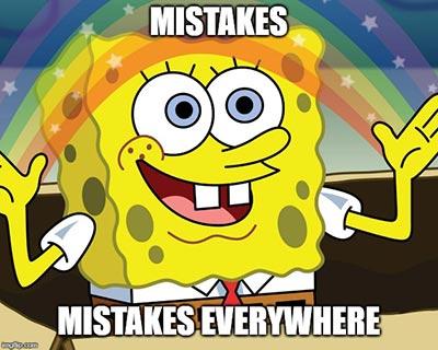 Meme Bob Esponja - errores por todas partes
