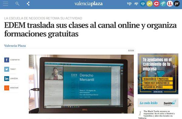 Noticia sobre EDEM en Valencia Plaza